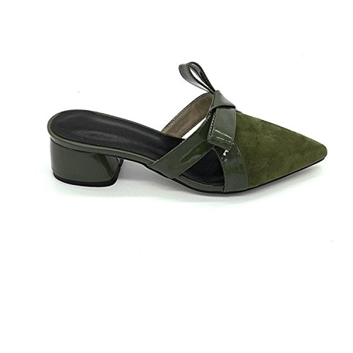 Shoes Suede Wedding Thytas Elegant Party Army Mules Green Outside Summer Toe Pointed Leather n44RvYX