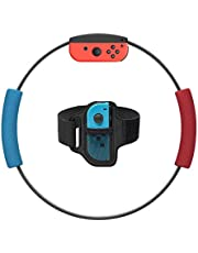 Ring-Con Grips and Leg Fixing Strap for Nintendo Swith Game, Non-Slip Grips Adjustable Leg Fixing Strap Set Kit for Switch Joy-Con Fit Adventure Game