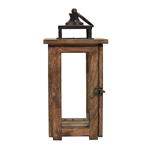 allen + roth 7.4-in x 15.3-in Rustic Glass Pillar Candle Outdoor Decorative Lantern JJ-37-24821