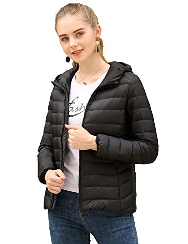 CHERRY CHICK Women's Light Weight Puffer Down Parka Hooded Jacket (US X-Large/Bust 42.5 Inches, Black) - Parka Hooded Lightweight