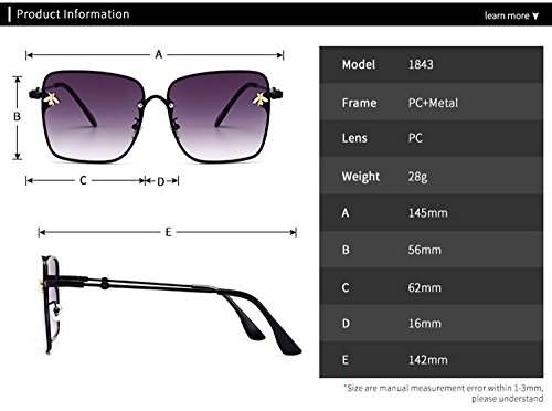 reflectante la mujeres gafas abeja protección para con metal tamaño cuadradas lente de HD de de de Moda marco T2 ATNKE decoración de gafas hombres gran sol UV400 UZUfq