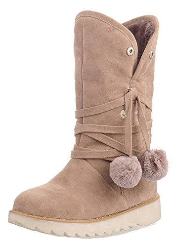 Women's Toe Flat Aisun Shoes Round Beige Pompoms On Winter Warm Fold Booties Boots Ankle Snow Cute Pull dwYRwq