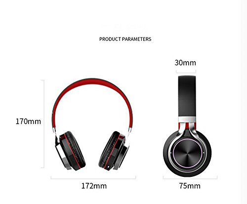 LILINA Wireless Light Bluetooth Headset Head-Mounted Game Sports Running Headset Computer Mobile Phone Universal Long Standby Card Music Bass Can Answer The Phone,Blackred by LILINA (Image #5)