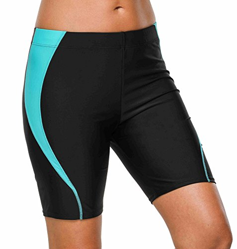 beautyin Long Boyleg Swimsuits Shorts for Womens Tummy Control Black/Blue XL