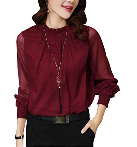 Demi Chic Shirt Fashion Mode Automne Long Longue Blouse Col Manche Chemisier Haut Dsinvolte Tops Femme Printemps Rouge Manches Manche Elgante Mousseline Haut Uni pvOq4gw