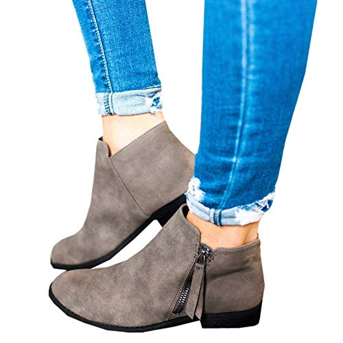 Women Ankle Leather Toe Heel Low Winter Grey Solid Western Outgobuy for Zipper Color Boots Pointed Side qwtSES