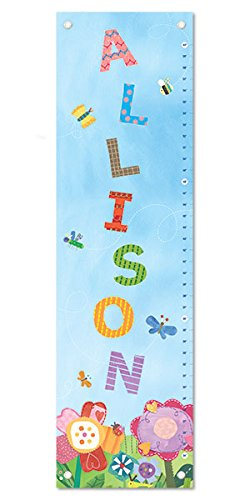 Personalized Growth Chart - Personalized Custom Name Keepsake Growth Chart Height Ruler for Girls Kids Room Wall Hanging Canvas Children's Baby Nursery Décor, Flowers | I See Me!
