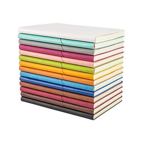 Writing Journal Leather Composition Notebook - EMITEC A5 Subject PU Colorful Hardcover Softcover Travel Diary Notebook (100 Sheets/multiple Random Color Set of 3)