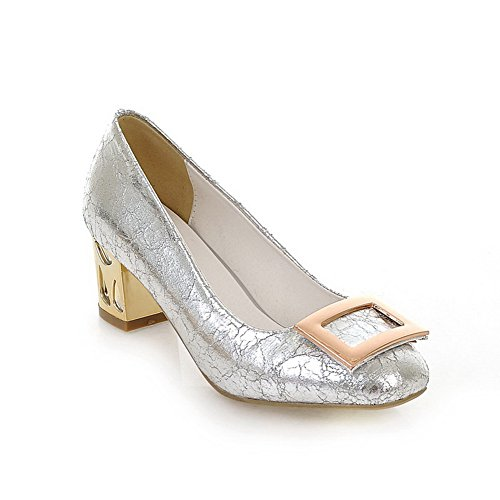 VogueZone009 Womans Closed Round Toe High Heel Patent Leather Solid Pumps with Rhinestone and Sequins Silver