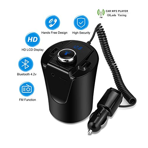 QILade Yzcing Car Bluetooth FM Transmitter Music Player Cup Holder Hands Free Calling Support U Disk TF Card Dual USB Charger Music Player