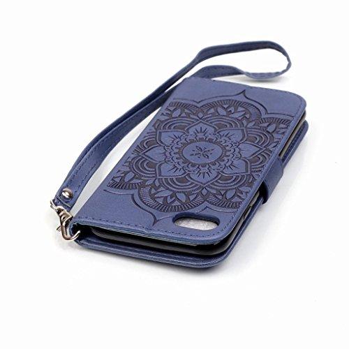 Yiizy Apple IPhone 7 7s Hülle, Campanula Prägung Entwurf PU Ledertasche Klappe Beutel Tasche Leder Haut Schale Skin Schutzhülle Cover Case Stehen Kartenhalter Stil Bumper Schutz (Tiefblau)