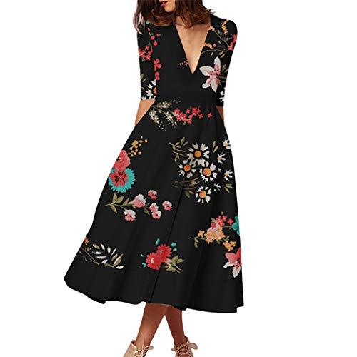 (Big Sale,YetouWomens Stylish Chiffon V-Neck Printed Floral Maxi Dress with Waisted Belt Plus Size Black)