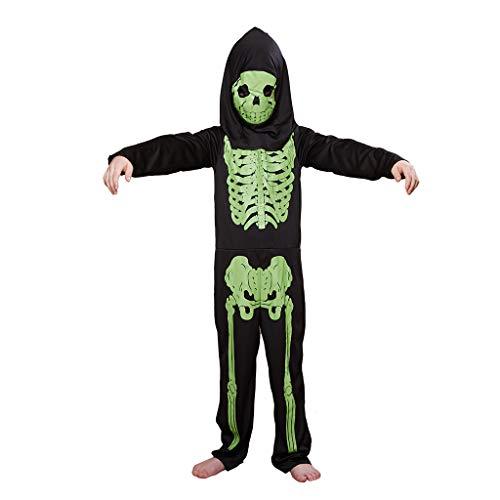Big Lots Halloween Costumes (Megartico Kids Boys Halloween Green Bones Print Skeleton Jumpsuit Costume with Hooded)