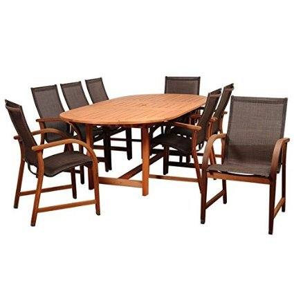 International Home Miami BT359-8MANHA-BR Amazonia Bahamas 9 Piece Eucalyptus Extendable Rectangular Dining Set with Brown Sling Chair Bahamas 9 Piece Eucalyptus