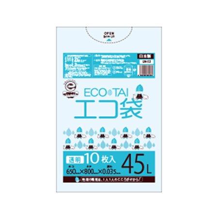 サンキョウプラテック エコ袋 45L 0.035厚 透明 10枚入×50冊 LN-53 B077SJGFMS 厚さ0.035mm|透明 透明 厚さ0.035mm