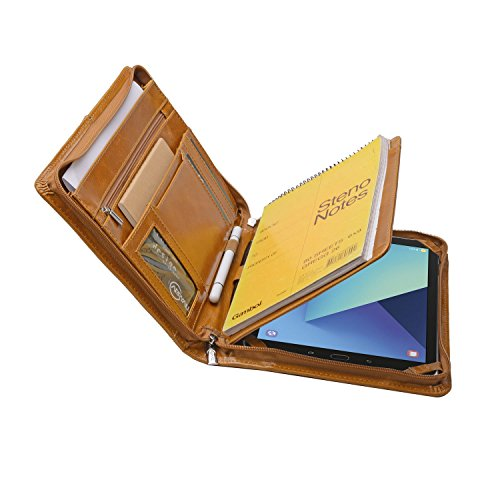 Designer Leather Organizer Padfolio for Samsung Galaxy Tab S3 9.7 and A5 Notepad,Brown
