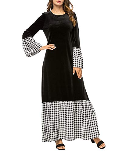 A Black Maxi Abito Lunghe Black Yahuyaka Collo color Con E Scozzesi Campana Donna Size 3xl Maniche Da wxYOOdRqF