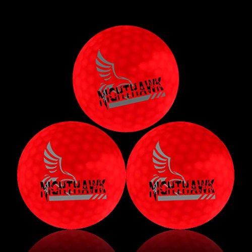 NightHawk [Upgraded Version] 3 Red Glow in Dark LED Light Up Golf Balls | 150 Minute per Activation | Super Bright Night Golf Fun