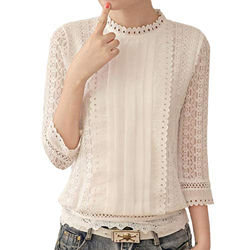 - Women Korean Style Ladies Chiffon Crochet Lace Stand Collar Blouse Tops White
