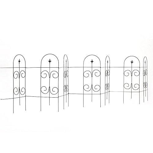 Amagabeli Decorative Garden Fence 32' x 20' x 7 Panels Fencing Rustproof Black Iron with Fleur De Lis Decoration Folding Wire Fencing Border Edge Sections Edging Flower Bed Barrier Decor Patio fences