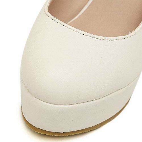 Solid Round Wedges Womens Metal Heel VogueZone009 High Material with White PU Toe Closed Soft Pumps HBqqEvw