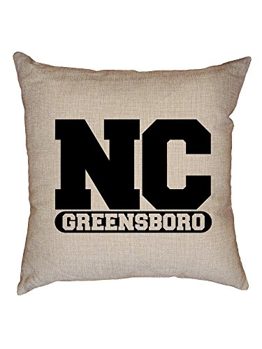 Hollywood Thread Greenboro, North Carolina NC Classic City State Sign Decorative Linen Throw Cushion Pillow Case with - Sofa North Carolina Classic