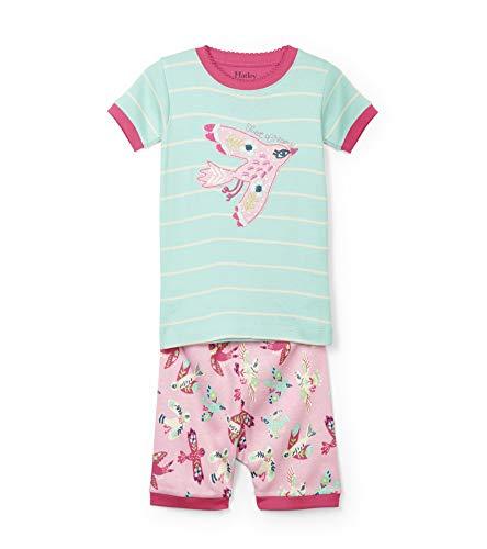 Hatley Girls' Little Organic Cotton Short Sleeve Applique Pajama Set, Soaring Birdies 3 Years (Applique Kids Pajama)
