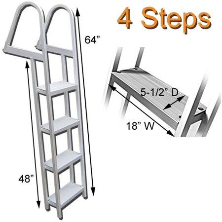 RecPro Marine PONTOON BOAT DOCK HEAVY DUTY ALUMINUM 4 STEP REMOVABLE BOARDING LADDER (4 Step Dock Step)