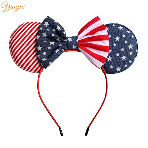 YanJie July 4th Striped Cotton/Denim Bow Hairband for Girls 5