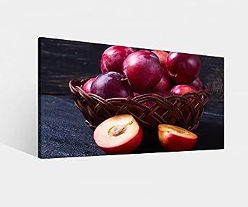 Amazon.de: Leinwandbild Pflaume Pflaumen lila Küche Essen Obst ...