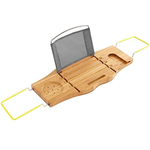 SONGMICS Extendable Bamboo Bathtub Caddy Tray Adjustable Side Rubber Grips Stainless Steel Rack Bathroom Organizer with Holder Rack for Wine Books iPad Phone UBCB22Y
