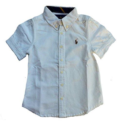 Polo Ralph Lauren Little Girl's Stripe Oxford Button Down Short Sleeve Shirt (White, (Ralph Lauren Stripe Shirt)