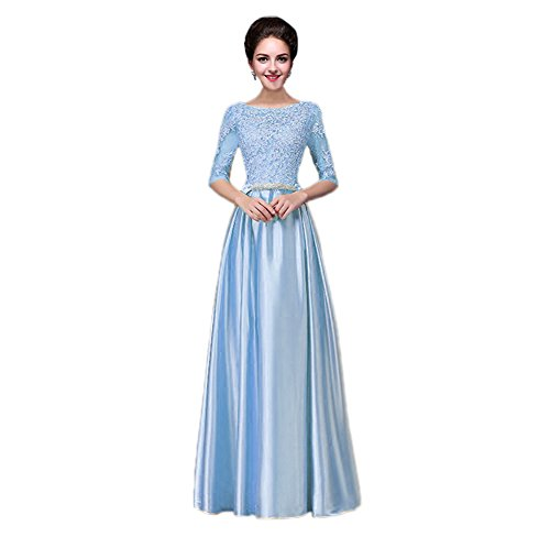 Vimans Girls Long Light Blue Plus Size Casual Homecoming Party Satin Dresses, 2