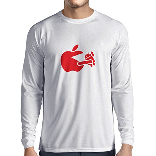 Long Sleeve t Shirt Men Funny Apple Eating a Robot - Gift for tech Fans (X-Large White Red)