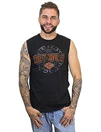 Mens Plate Round B&S Black Sleeveless Muscle T-Shirt