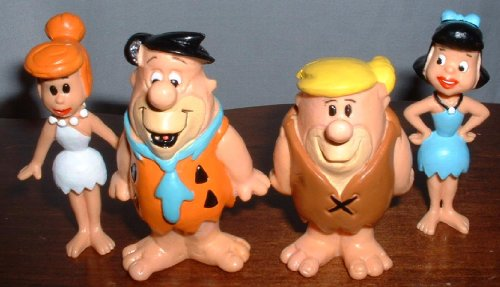 The Original Flintstones Cartoon Figure Set with Fred, Barney Wilma and Betty by -