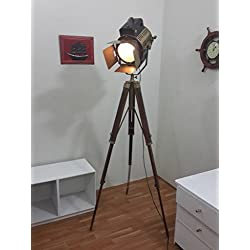 Vintage Studio Theater Spot Light Designer Antique Tripod Search Light Spot Lamp
