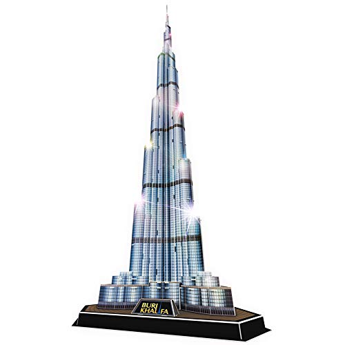 "CubicFun 3D Puzzles LED Dubai Burj Khalifa 57.5"" H Architecture Building Model Kits for Adults, Souvenir Decoration and Birthday Gifts for Men and Women, the Tallest Tower 136 Pcs"