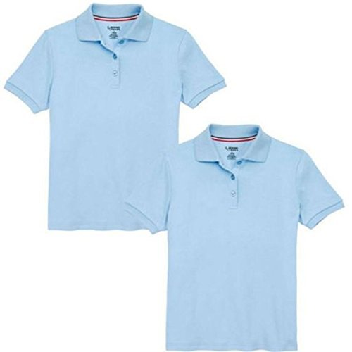 2 Piece White Polo Girls School Shirt (LARGE, BLUE) (Macys Polo Shirts)