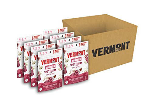 Vermont Smoke & Cure Mini Meat Stick Go Packs, Pork, Antibiotic Free, Gluten Free, Spicy Italian, Six 0.5oz Sticks Per Pouch, Pack of 8 Pouches made in Vermont