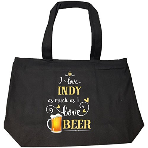 I Love Indy As Much As I Love Beer Gift For Him - Tote Bag With Zip