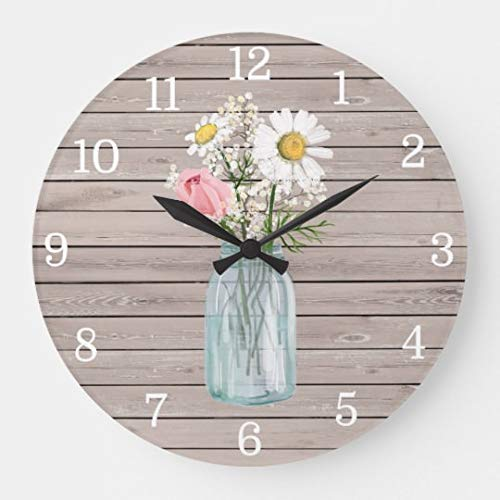 Rustic Rose Daisies Mason Jar Wall Clock Battery Operated Art Silent Non-Ticking Small Wood Clock 12 Inches ()