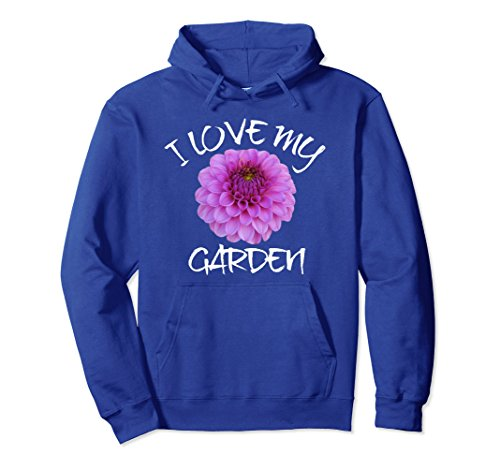 Unisex I Love My Garden Hoodie, Dahlia Bloom Hoodie Pullover 2XL Royal Blue - Garden Bloom Sweater