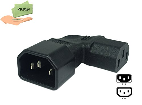 Cerrxian Left Angle IEC 320 C14 3 Pin Male to C13 Female PDU PSU UPS Power Extension Adapter Receptacle for LCD LED TV Wall Mount