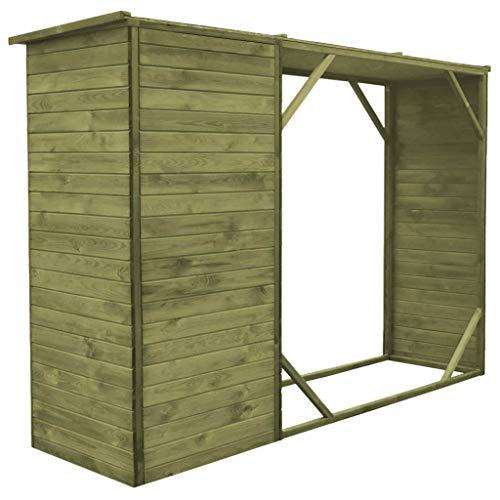 tidyard 2 en 1 Cobertizo para Almacenaje de Leña/Herramientas,Caseta Jardín Exterior,Armario de Madera de Jardín,FSC Madera Pino 253x80x170cm: Amazon.es: ...