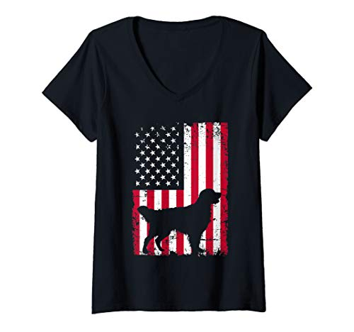 Womens Golden retriever 4th of July Patriotic American USA Flag  V-Neck T-Shirt