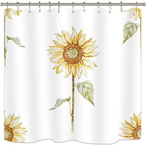Riyidecor Yellow Sunflower Shower Curtain Green Leaves Floral Rustic Nature Spring Durable White Polyester Fabric Waterproof Bathroom Home Drape Decorative 72x72 Inches 12 Plastic Hooks (Bathroom Yellow Curtains)