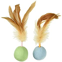 SmartyKat Felty Fun Set of 2 Wool Felt & Feather Balls Cat Toys