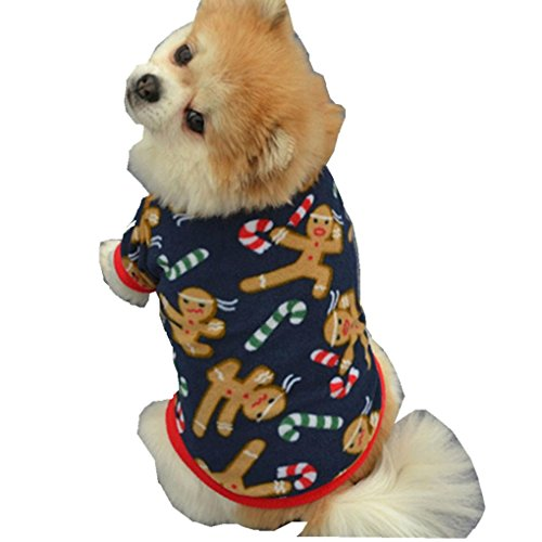 - haoricu Pet Shirt, Winter Christmas Dog Cotton Costume Small Dog Cat Pet Clothing Puppy T Shirt Apparel Warm Pullover High-Grade Embroidered (M, Blue)