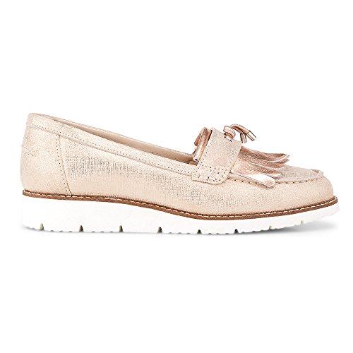 DRIEVHOLT Damen Metallic-Loafer, Leder Slipper in Rosa mit Leichter Profilsohle Rosa Leder 40
